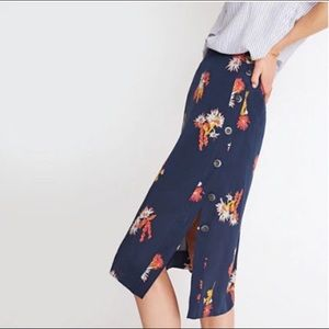 Navy Silk Floral Button Up Skirt